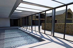 Conservation and change of use archiwildish chartered for Swimming pool converted to greenhouse